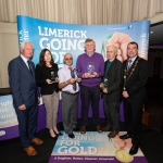 10.10.2018.               Limerick Going For Gold is a community based competition aimed at making Limerick a cleaner, brighter place to work, live and visit.  It is sponsored by the JP McManus Charitable Foundation and has a total prize pool of over €80,000.  It is organised by Limerick City and County Council and supported by Limerick's Live 95FM, The Limerick Leader and The Limerick Post, Parkway Shopping Centre, I Love Limerick and Southern Marketing Media & Design.   Gerry Boland, JP McManus Charitable Foundation and Mayor of Limerick City and County Cllr. James Collins presented the Judges Awards to Fiona Kiely, Limerick Civic Trust, Jimmy Cahill, Eamonn Leahy, Croom and John Tierney. Picture: Alan Place