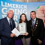 10.10.2018.               Limerick Going For Gold is a community based competition aimed at making Limerick a cleaner, brighter place to work, live and visit.  It is sponsored by the JP McManus Charitable Foundation and has a total prize pool of over €80,000.  It is organised by Limerick City and County Council and supported by Limerick's Live 95FM, The Limerick Leader and The Limerick Post, Parkway Shopping Centre, I Love Limerick and Southern Marketing Media & Design.   Gerry Boland, JP McManus Charitable Foundation and Mayor of Limerick City and County Cllr. James Collins presented the Endeavour Award to Fiona Kiely, Limerick Civic Trust. Picture: Alan Place