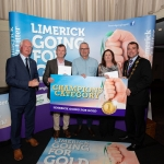 10.10.2018.               Limerick Going For Gold is a community based competition aimed at making Limerick a cleaner, brighter place to work, live and visit.  It is sponsored by the JP McManus Charitable Foundation and has a total prize pool of over €80,000.  It is organised by Limerick City and County Council and supported by Limerick's Live 95FM, The Limerick Leader and The Limerick Post, Parkway Shopping Centre, I Love Limerick and Southern Marketing Media & Design.   Gerry Boland, JP McManus Charitable Foundation and Mayor of Limerick City and County Cllr. James Collins presented Champions Category Awards to, 1st John Hardiman for Castleconnell, Harold Richardson for Castletroy View and 3rd, Lesley Cunningham for Janesboro. Picture: Alan Place