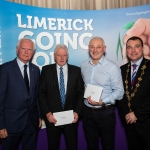 10.10.2018.               Limerick Going For Gold is a community based competition aimed at making Limerick a cleaner, brighter place to work, live and visit.  It is sponsored by the JP McManus Charitable Foundation and has a total prize pool of over €80,000.  It is organised by Limerick City and County Council and supported by Limerick's Live 95FM, The Limerick Leader and The Limerick Post, Parkway Shopping Centre, I Love Limerick and Southern Marketing Media & Design.   Gerry Boland, JP McManus Charitable Foundation and Mayor of Limerick City and County Cllr. James Collins presented Champions Category Residential Awards to, joint 3rd place winners, Con Carroll, St. Patricks Villas and Dan Larkin, The Grange. Picture: Alan Place