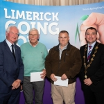10.10.2018.               Limerick Going For Gold is a community based competition aimed at making Limerick a cleaner, brighter place to work, live and visit.  It is sponsored by the JP McManus Charitable Foundation and has a total prize pool of over €80,000.  It is organised by Limerick City and County Council and supported by Limerick's Live 95FM, The Limerick Leader and The Limerick Post, Parkway Shopping Centre, I Love Limerick and Southern Marketing Media & Design.   Gerry Boland, JP McManus Charitable Foundation and Mayor of Limerick City and County Cllr. James Collins presented Champions Category Residential Awards to, joint 2nd place winners, Denis Ryan, Gouldavoher and Joe Keogh, Cappemore Estates. Picture: Alan Place
