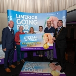 10.10.2018.               Limerick Going For Gold is a community based competition aimed at making Limerick a cleaner, brighter place to work, live and visit.  It is sponsored by the JP McManus Charitable Foundation and has a total prize pool of over €80,000.  It is organised by Limerick City and County Council and supported by Limerick's Live 95FM, The Limerick Leader and The Limerick Post, Parkway Shopping Centre, I Love Limerick and Southern Marketing Media & Design.   Gerry Boland, JP McManus Charitable Foundation and Mayor of Limerick City and County Cllr. James Collins presented Residential Are Awards to, overall winners, Kevin Haugh, Trish Kinsella and Paula Enright for Monaleen Park. Picture: Alan Place