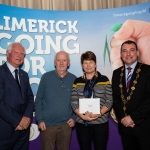 10.10.2018.               Limerick Going For Gold is a community based competition aimed at making Limerick a cleaner, brighter place to work, live and visit.  It is sponsored by the JP McManus Charitable Foundation and has a total prize pool of over €80,000.  It is organised by Limerick City and County Council and supported by Limerick's Live 95FM, The Limerick Leader and The Limerick Post, Parkway Shopping Centre, I Love Limerick and Southern Marketing Media & Design.   Gerry Boland, JP McManus Charitable Foundation and Mayor of Limerick City and County Cllr. James Collins presented Limerick in Bloom Award to, 3rd place Dermot Guiltinane and Margaret Butler for Croagh. Picture: Alan Place