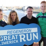 Peter Casey, Limerick Senior Hurling Team, Eimear O'Mahoney, Regeneron, John Cleary, Race Director, William O'Donoghue, Limerick Senior Hurling, pictured at Launch of the Regeneron Great Limerick Run February 4 2019 Picture: Conor Owens/ilovelimerick