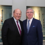 Pictured at the gala fundraiser for the upcoming Lavery/Osborne Symposium in the Hunt museum are Pat Cox and Michael Noonan. Picture: Conor Owens/ilovelimerick.