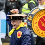 19/3/17 REPRO FREE The Friendship Band, Northern Ireland at the 7th Limerick International Band Championship, Limerick. Illinois State University have been named as the overall winners of the 47th Limerick International Band Championship. Around 1,000 musicians performed in the event saw 17 bands from the United States, Germany, England, Northern Ireland, Tipperary, Dublin, Donegal and Westmeath as well as Limerick marching down O'Connell Street in Limerick as part of the Limerick St Patrick's Festival 2017. Tens of thousands of spectators braved the weather and lined the route, cheering on the competitors in what is Ireland's only marching band competition. Illinois State University were presented with the Kenneally Jewellers Perpetual Trophy as overall winners of the championship organised by Grooveyard on behalf of Limerick City and County Council. Picture Sean Curtin True Media.