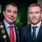 12-12-18 Mayor of Limerick City and County Council James Collins with Munster and Ireland Rugby player Keith Earls at a Civic Reception in recognition of the International Sporting Achievements of Persons from Limerick in 2018
