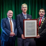 12-12-18 Dr Pat Daly, Director and Deputy Chief Executive Limerick City and County with Mayor of Limerick City and County Council James Collins present to Padraig Quish, Hospital Handball Club represented by his father. Pat Quish at a Civic Reception in recognition of the International Sporting Achievements of Persons from Limerick in 2018