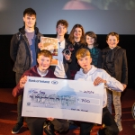 Sean Tracey, 13, Wicklow, who came 2nd place in the Senior Ireland's Young Filmmaker of the year Awards 2018 pictured with Eamonn MacMahon, Winner 2017 and Jayne Foley, Director of Fresh Film Festival and his crew at Fresh Film Festival 2018, Odeon Cinema Castletroy, Limerick. Picture: Cian Reinhardt/ilovelimerick