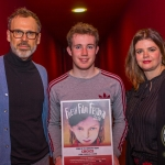 Richard Lynch, ilovelimerick and John, 17, winner of Ireland's Young Filmmaker of the Year Senior Award 2018 pictured with Jayne Foley, Founder and Creative Director of Fresh Film Festival at Odeon Cinema, Castletroy Limerick for Fresh Film Festival 2018. Picture: Cian Reinhardt/ilovelimerick