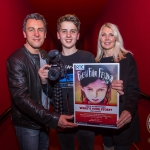 Luke, (15), Castletroy, Limerick winner of the RTE Factual Award at the Ireland's Young Filmmaker of the Year Senior Awards 2018 with his parents Dermot and Claire, which took place at Odeon Cinema, Castletroy Limerick. Picture: Cian Reinhardt/ilovelimerick