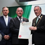 Limerick City and County Council Chief Executive Con Murray, former Detective Garda Ben O'Sullivan and Mayor of Limerick City and County Steven Keary at the award ceremony for the Freedom Of Limerick for the late Detective Garda Jerry McCabe and his partner former Detective Garda Ben O'Sullivan at Limerick City and County Council. Thursday, June 28th, 2018. Picture: Sophie Goodwin/ilovelimerick