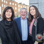 Pictured at the John McNamara Exhibition and Achievement Award at the Hunt Museum were Majella O'Rourke, Gerry McNamara, Gillian McNamara. Picture: Cian Reinhardt/ilovelimerick