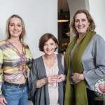 Pictured at the John McNamara Exhibition and Achievement Award at the Hunt Museum were, Fiona White, Fashion designer, Catherine Bourke, Assistant to John McNamara and Helen O'Donnell, Hunt Cafe. Picture: Cian Reinhardt/ilovelimerick