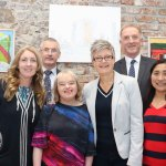 Pictured at Narrative 4 Building for for the Opening of Landmarks Exhibition is Supported Employment Rose Servitova, Training Enterprise and Employment Services (TEES) Manager Donal Sherlock, Artist Barbara Hanley, Art Instructor Ashley Ryan, TESS Administrator John O'Callaghan and  TESS Support Staff Abigail Maniego. Picture: Mia Wang/ilovelimerick