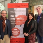 Colm O'Brien, Georgina Miller, and Mike Finn, writer of 'Bread Not Profits', pictured at the Launch of Gúna Nua Theatre Company's new production 'Bread Not Profits' at the Belltable arts venue. Picture: Orla McLaughlin/ilovelimerick.
