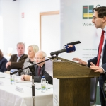 Minister Simon Harris, minister for Health, addressed the crowd at University Hospital Limerick before officially opening the Leben Building at UHL. Picture: Cian Reinhardt/ilovelimerick