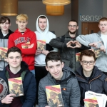REPRO FREE 6/3/19. Pictured is Ireland's Young Filmmaker of the Year Awards 2019 finalist Cormac Lalor,17 from Carlow (front right) pictured with the cast of his film 'Shadow' at the Leinster regional heats of the Fresh Film Festival at the Odeon Cinema Point Village. Picture: Orla McLaughlin/ilovelimerick.