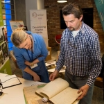 04.04.2017 REPRO FREE Digitisation and Archives professionals from the Gluksman Library University of Limerick presented a talk on Attics to Archives at the Bank of Ireland Workbench for the Limerick Lifelong Learning Festival. Pictured at the event were, Evelyn McAuley and Randel Hodkinson who brought a collection of designs from J Hodkinson & Sons Ecclesiastical Decorators dating back as far as 1852. Picture: Alan Place
