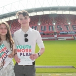 Cian Hickey (17) and Nicola Secas (16) at the Limerick and Clare Education and Training Board Youth Work Plan Launch, Thomond Park, Thursday, May 31st, 2018. Picture: Sophie Goodwin/ilovelimerick