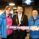 Picture are Caroline Hogan, Mayor James Collins, and Keith Enright. Limerick Autism group launched their #borntostandout campaign in Thomond Stadium on March 26. Picture: Orla McLaughlin/ilovelimerick.