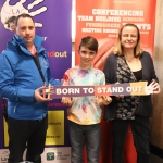 Pictured are Keith Enright, James Enright, and Eleanor McSherry. Limerick Autism group launched their #borntostandout campaign in Thomond Stadium on March 26. Picture: Orla McLaughlin/ilovelimerick.