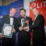 No repro fee- limerick chamber president's dinner 2017 - 17-11-2017, From Left to Right: Best innovative Start Up Award: Dr Liam Brown- Vice President LIT / Award Sponsored by LIT , Barry Fitzgerald - Cloud Cards, Ken Johnson - President Limerick Chamber. Photo credit Shauna Kennedy
