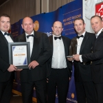 No repro fee- limerick chamber president's dinner 2017 - 17-11-2017, From Left to Right: Best Sme of the Year Award: Donal Cantillon - BOI /Sponsored by BOI, Kieran Cusack, Denis O'Brien and Tom O'Connor all from Conack Construction / Winners, Ken Johnson - President Limerick Chamber. Photo credit Shauna Kennedy