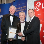 No repro fee- limerick chamber president's dinner 2017 - 17-11-2017, From Left to Right: Best Large Business Award: Donal Creaton - HOMS/Sponsored by HOMS, Conor Gilligan - Roadbridge, Ken Johnson - President Limerick Chamber. Photo credit Shauna Kennedy