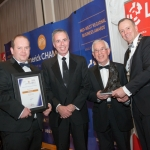 No repro fee- limerick chamber president's dinner 2017 - 17-11-2017, From Left to Right: Best Family Business Award: Conor O'Sullivan - AIB/ Sponsored by AIB, Michael and Seamus Flannery - Flannery's Bar Denmark Street, Ken Johnson - President Limerick Chamber. Photo credit Shauna Kennedy