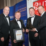 No repro fee- limerick chamber president's dinner 2017 - 17-11-2017, From Left to Right: Best Contribution to the Community Award: Cathal Treacy- Deloitte / Sponsored by Deloitte, Kirby Group - Winners, Ken Johnson - President Limerick Chamber. Photo credit Shauna Kennedy