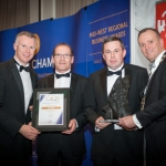 No repro fee- limerick chamber president's dinner 2017 - 17-11-2017, From Left to Right: Best Business Service Provider Award: David Jeffreys- Acton Point / Sponsored by Action Point, PJ Flanagan and Tom Ryan both from H&MV Engineering /Winners, Ken Johnson - President Limerick Chamber. Photo credit Shauna Kennedy