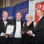 No repro fee- limerick chamber president's dinner 2017 - 17-11-2017, From Left to Right: Best Community and Voluntary Sector Award: Pat Daly - Limerick Council / Sponsored by Limerick Council, Gerard McNamara and Shirley Johnson both from Limerick Suicide Watch, / Winner, Ken Johnson - President Limerick Chamber. Photo credit Shauna Kennedy