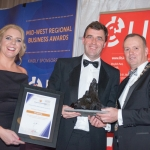 No repro fee- limerick chamber president's dinner 2017 - 17-11-2017, From Left to Right:Best Employer: talent Development & Workplace Wellness Award: Lavinia Duggan Ryan - VHI / Sponsored by VHI, Harry Fehily -HOMS / Winner, Ken Johnson - President Limerick Chamber. Photo credit Shauna Kennedy