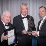 No repro fee- limerick chamber president's dinner 2017 - 17-11-2017, From Left to Right:Best innovation (RD&I) Award: Eamonn Murphy - Innovate Limerick / - Sponsored by Innovate Limerick, John Blake - On Semiconductor, Ken Johnson - President Limerick Chamber. Photo credit Shauna Kennedy