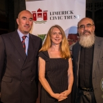 Pictured at the Limerick Civic Trust Autumn Lecture Series with Jodie Ginsberg were David O'Brien, Limerick Civic Trust, Jodie Ginsberg and Patrick Comerford. Picture: Cian Reinhardt/ilovelimerick