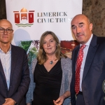Roger Madelin, Sheila Killian, Kemmy Business School pictured with David O'Brien, Limerick Civic Trust. Picture: Cian Reinhardt/ilovelimerick