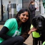 Bejal Patel From The University of Limerick Medical School with a dog from Limerick Animal Welfare at the Festival of Kindness fun day on Bedford Row, Limerick. Picture: Sophie Goodwin/ilovelimerick