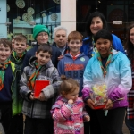 Nolin Guinane and Angela O'Sullivan (back) with children from St Paul's Scouts at the Festival of Kindness fun day on Bedford Row. Picture: Sophie Goodwin/ilovellimerick