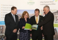 8/2/2016 With Compliments.. A newly launched blueprint seeking to strengthen Limerick's efforts to achieve Food Destination Status over the next three years was launched this Monday by Jan O'Sullivan T.D., Minister for Education and Skills. Photographed with the Minister are from left Conn Murray, Chief Executive, Limerick City & County Council, Cllr. Gerald Mitchell, Deputy Mayor of Limerick and Eamon Ryan, Head of Enterprise, Local Enterprise Office, Limerick. Photograph Liam Burke/Press 22