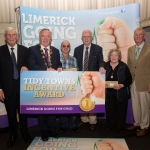 10.10. 2017. Mayor of the City and County of Limerick Cllr Stephen Keary and Noel Earlie, JP McManus Charitable Foundation presented the Limerick Going for Gold Tidy Towns groups The Overall most improved in each Municipal District was awarded €1,000 each and they were Abbeyfeale, Glenroe, Gouldavoher and Rathkeale. Limerick Going for Gold, which is sponsored by the JP McManus Charitable Foundation, has a total prize pool of over €75,000. It is organised by Limerick City and County Council and supported by Limerick's Live 95FM, The Limerick Leader and The Limerick Chronicle, The Limerick Post, Parkway Shopping Centre, I Love Limerick and Southern Marketing Media & Design. Picture: Alan Place