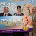 10.10. 2017. Mayor of the City and County of Limerick Cllr Stephen Keary and Noel Earlie, JP McManus Charitable Foundation presented the Tidy Towns groups The Overall most improved across Limerick to Kilcornan (€2,000) accepted by Lyn Nolan. Limerick Going for Gold, which is sponsored by the JP McManus Charitable Foundation, has a total prize pool of over €75,000. It is organised by Limerick City and County Council and supported by Limerick's Live 95FM, The Limerick Leader and The Limerick Chronicle, The Limerick Post, Parkway Shopping Centre, I Love Limerick and Southern Marketing Media & Design. Picture: Alan Place