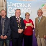 10.10. 2017. Mayor of the City and County of Limerick Cllr Stephen Keary and Noel Earlie, JP McManus Charitable Foundation presented the Residential Area Category 3rd place (€1,000) to Cappamore Estates accepted by Rodney Hayes and Rose O'Neill. Limerick Going for Gold, which is sponsored by the JP McManus Charitable Foundation, has a total prize pool of over €75,000. It is organised by Limerick City and County Council and supported by Limerick's Live 95FM, The Limerick Leader and The Limerick Chronicle, The Limerick Post, Parkway Shopping Centre, I Love Limerick and Southern Marketing Media & Design. Picture: Alan Place