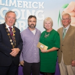 10.10. 2017. Mayor of the City and County of Limerick Cllr Stephen Keary and Noel Earlie, JP McManus Charitable Foundation presented the Residential Area Category 2nd place (€1,500) to Monaleeen Park accepted by Aelish Nagle and Jimmy Kelly. Limerick Going for Gold, which is sponsored by the JP McManus Charitable Foundation, has a total prize pool of over €75,000. It is organised by Limerick City and County Council and supported by Limerick's Live 95FM, The Limerick Leader and The Limerick Chronicle, The Limerick Post, Parkway Shopping Centre, I Love Limerick and Southern Marketing Media & Design. Picture: Alan Place