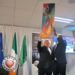 """Belonging to Limerick"" launch Integration Plan for 2018 to 2022 takes place on September 28 at Thomond Park. Artist Jean Ryan Hakizimana presented an art work to Michael.D.Higgins, the President of Ireland. Picutre: Baoyan Zhang/ilovelimerick"
