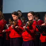 10/04/2019 'Sing Out with Strings' group members from Le Cheile NS, including Saoirse Ryan, left, and Ellie Maher-Hogan.  Limerick Learning Neighbourhoods event at The Life Centre, Henry Street, Limerick Picture by Diarmuid Greene