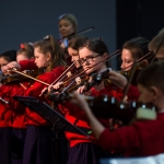 10/04/2019 'Sing Out with Strings' group members from Le Cheile NS, including Ellie Maher-Hogan, centre.  Limerick Learning Neighbourhoods event at The Life Centre, Henry Street, Limerick Picture by Diarmuid Greene
