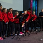 10/04/2019 The St Mary's Primary school Folk Group with Roisin Ni Ghalloglaigh.  Limerick Learning Neighbourhoods event at The Life Centre, Henry Street, Limerick Picture by Diarmuid Greene