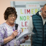 10/04/2019 Josephine Sheedy from Moyross alongside Christopher Mallard, chairman of the Living Out Loud youth club.  Limerick Learning Neighbourhoods event at The Life Centre, Henry Street, Limerick Picture by Diarmuid Greene