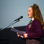 10/04/2019 Shannon Kerrigan, aged 14, from the Living Out Loud youth club, Moyross, performs during the Limerick Learning Neighbourhoods event at The Life Centre, Henry Street, Limerick. Picture by Diarmuid Greene